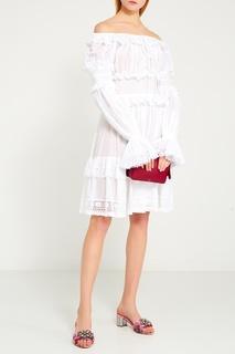 Белое платье с оборками Dolce & Gabbana