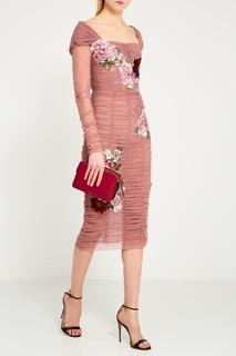 Драпированное платье с цветами Dolce & Gabbana