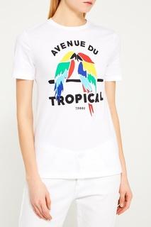 Белая футболка с попугаями Etre Cecile