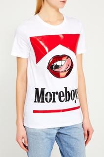 Белая футболка с принтом Nil&Mon