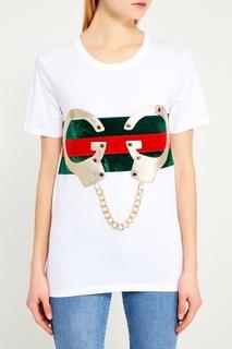 Белая футболка с декором Nil&Mon