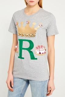 Серая футболка с комбинированным декором Nil&Mon