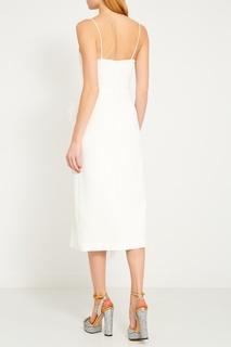 Белое платье-футляр с перьями David Koma
