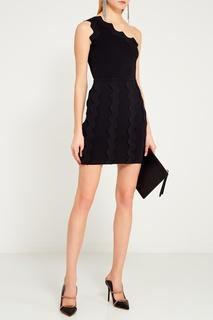 Черное платье с аппликацией David Koma