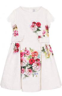 Жаккардовое платье с кружевной отделкой и бантами Simonetta