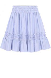Хлопковая юбка-миди свободного кроя в полоску Simonetta