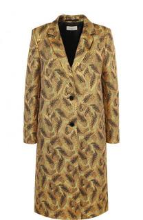 Пальто прямого кроя с металлизированной нитью Dries Van Noten