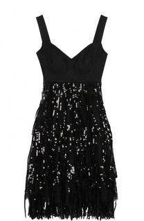 Мини-платье с завышенной талией и пайетками Dolce & Gabbana