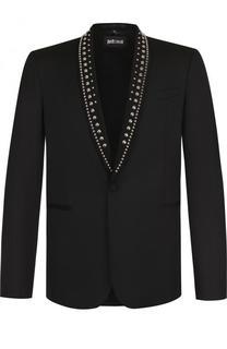 Однобортный пиджак с отделкой на лацканах Just Cavalli