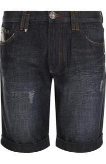 Джинсовые шорты с потертостями Philipp Plein