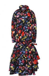 Приталенное платье-миди с ярким принтом Kenzo