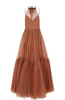 Приталенное платье-макси с оборками и открытой спиной No. 21
