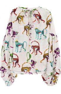 Шелковая блуза свободного кроя с принтом Stella Jean