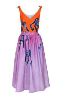 Приталенное хлопковое платье-миди с принтом Stella Jean