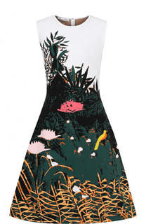 Приталенное платье-миди с принтом Oscar de la Renta