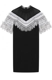 Мини-платье с контрастными оборками self-portrait