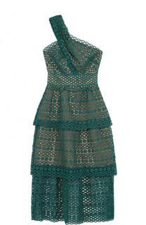 Кружевное многоярусное платье-миди асимметричного кроя self-portrait