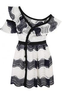Приталенное кружевное платье-миди с открытым плечом self-portrait