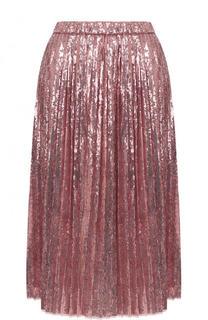 Плиссированная юбка-миди с пайетками No. 21