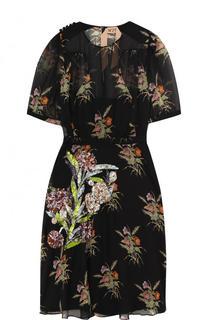 Шелковое мини-платье с пайетками и принтом No. 21