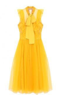 Приталенное платье-миди с воротником-стойкой No. 21