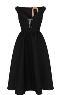 Приталенное платье-миди с V-образным вырезом No. 21