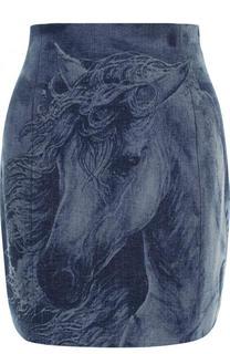 Джинсовая мини-юбка с потертостями Balmain