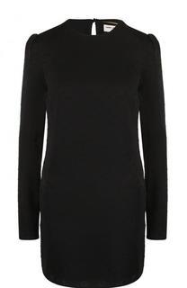 Однотонное шелковое мини-платье с длинным рукавом Saint Laurent