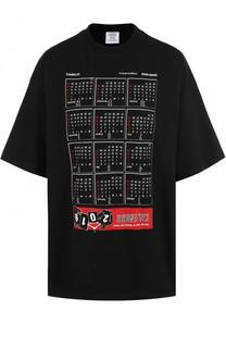 Хлопковая футболка свободного кроя с принтом Vetements