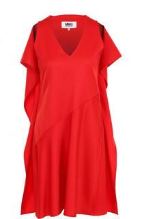 Однотонное мини-платье с оборками Mm6