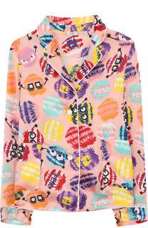Блуза в пижамном стиле с принтом Fendi Roma