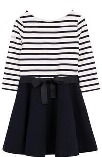 Платье джерси в полоску с поясом Polo Ralph Lauren