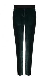 Однотонные бархатные брюки прямого кроя BOSS