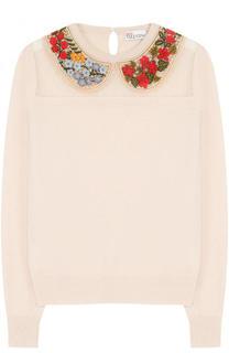 Шерстяной пуловер с контрастной декоративной отделкой REDVALENTINO