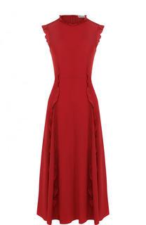 Приталенное шелковое платье-миди с оборками REDVALENTINO