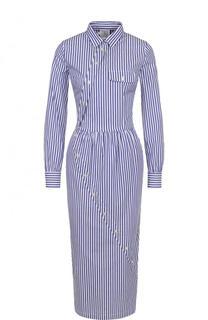 Хлопковое платье-миди в полоску Stella Jean