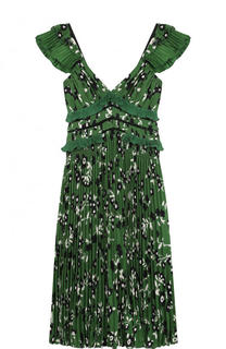 Плиссированное платье-миди с завышенной талией self-portrait