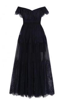 Приталенное кружевное платье-макси с открытыми плечами self-portrait