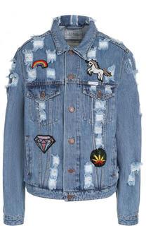 Джинсовая куртка свободного кроя с потертостями Forte Couture