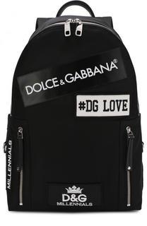 Текстильный рюкзак с нашивками Dolce & Gabbana