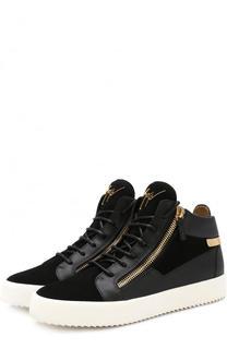Высокие кожаные кеды Kriss на шнуровке Giuseppe Zanotti Design