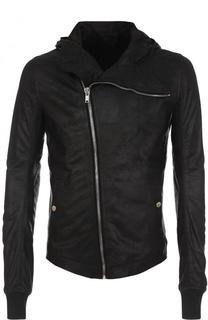Кожаная куртка с косой молнией и капюшоном Rick Owens