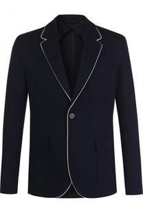 Однобортный хлопковый пиджак с контрастной отделкой Lanvin