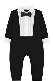 Хлопковый комбинезон с декоративной отделкой и галстуком-бабочкой Dolce & Gabbana