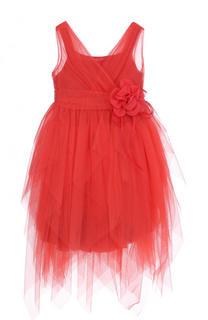Многослойное платье ассиметричного кроя с декоративным поясом Aletta