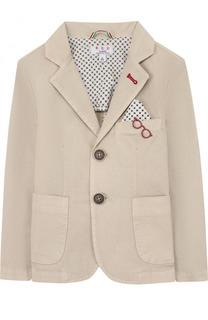 Однобортный пиджак из хлопка с платком и декором Aletta