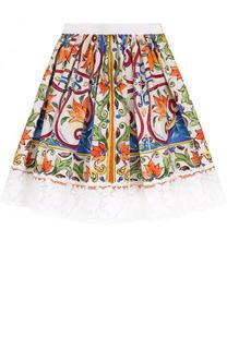 Хлопковая юбка с принтом и кружевной отделкой Dolce & Gabbana