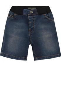 Джинсовые шорты с эластичной вставкой на поясе и аппликацией Dolce & Gabbana