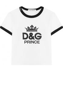 Хлопковая футболка с принтом и контрастной отделкой Dolce & Gabbana