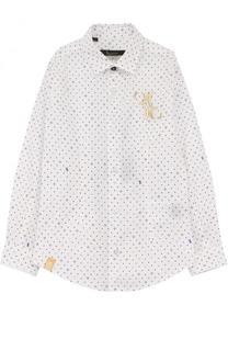 Хлопковая рубашка с принтом и вышивкой Billionaire